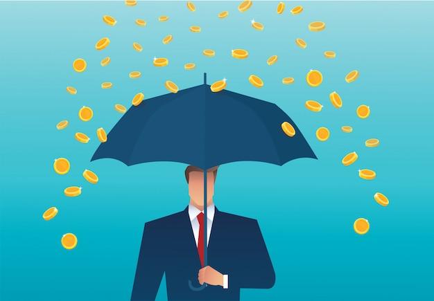 Geschäftsmann, der einen regenschirm, geld fällt vom himmel hält