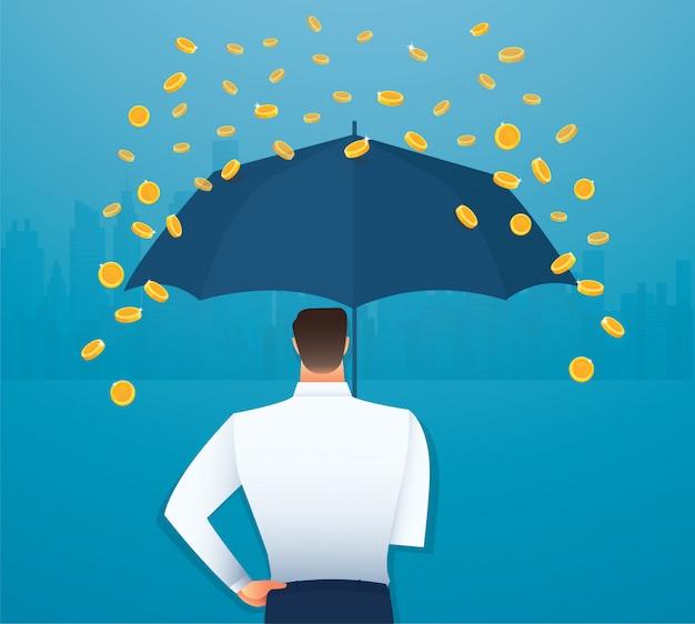 Geschäftsmann, der einen regenschirm hält, geld, das vom himmel fällt