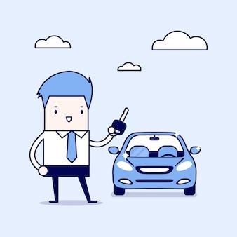 Geschäftsmann, der einen schlüssel eines neuen autos hält. cartoon charakter dünne linie stil vektor.