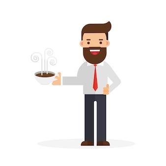 Geschäftsmann, der einen tasse kaffee hält