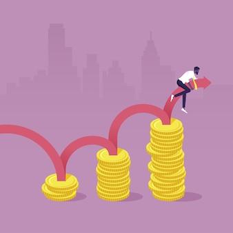 Geschäftsmann, der einen wachsenden pfeil reitet, der auf dem gewinndiagrammdiagramm des einkommenswachstums steigt