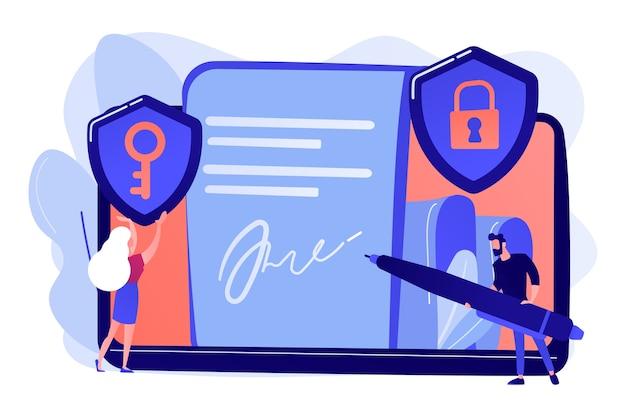 Geschäftsmann, der elektronische unterschrift auf dokument, sicherheitsschilde setzt. elektronische signatur, e-signatur-vorlage, e-sign-zustimmungsvereinbarung konzeptillustration