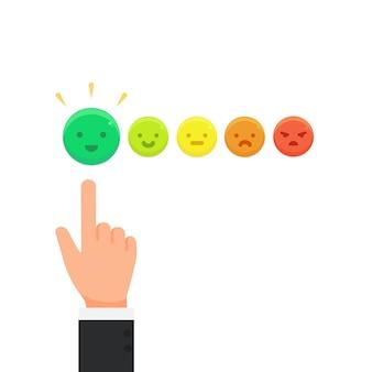 Geschäftsmann, der emoticon-bewertungsfeedback-konzeptvektor gibt