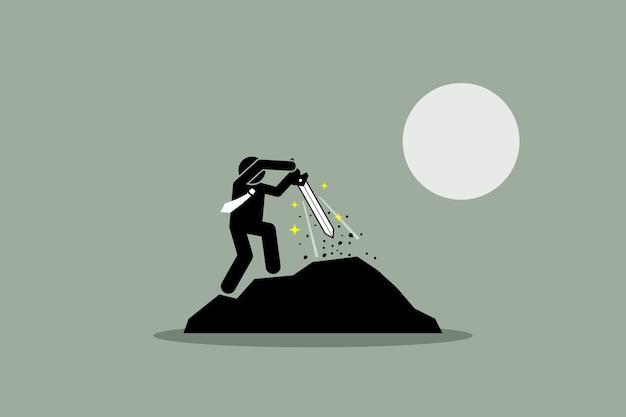 Geschäftsmann, der excalibur schwert von einem felsen herauszieht. die abbildung zeigt das konzept von schicksal, erfolg, perspektive, potenzial, auserwähltem und schicksal.
