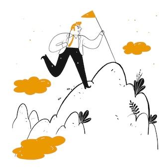 Geschäftsmann, der fahnenstange hält, um zum berggipfel zu klettern