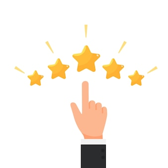Geschäftsmann, der feedbackring-konzeptvektor mit fünf sternen bewertet