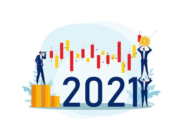 Geschäftsmann, der ferngläser mit kerzenstapel der börse von 2021 jahren sucht. konzept der aktieninvestition flache zeichentrickfigur