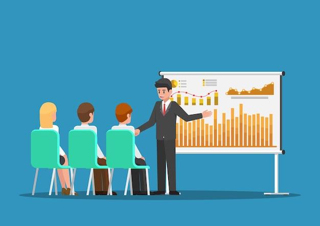 Geschäftsmann, der finanz- und marketingdaten auf der präsentationstafel präsentiert. geschäftstreffen und präsentationskonzept.