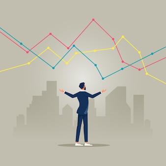 Geschäftsmann, der finanzdiagramm des wachstums auf dem stadtbild zeigt konzept des geschäftswachstumskonzepts