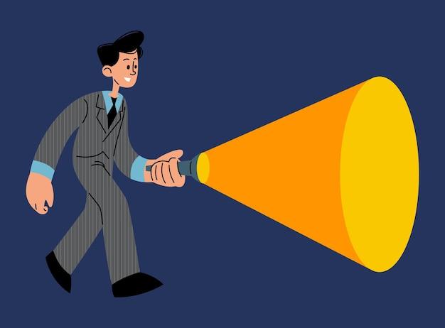 Geschäftsmann, der flache vektorillustration der taschenlampe hält