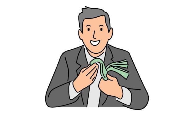 Geschäftsmann, der geld mit lächelnausdruck zählt