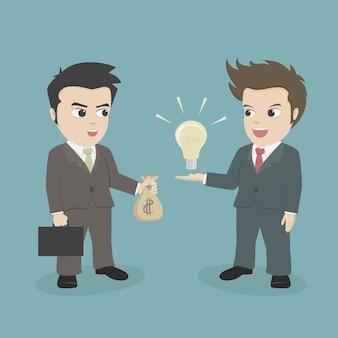 Geschäftsmann, der geld verwendet, um idee zu kaufen.