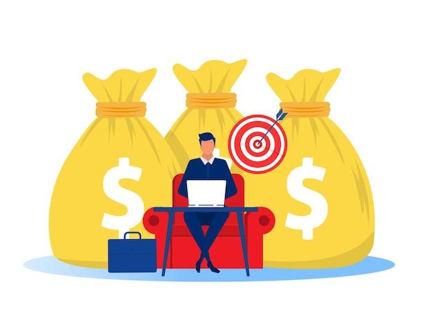 Geschäftsmann, der geld vom online-geschäft verdient