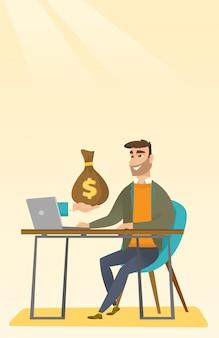 Geschäftsmann, der geld vom online-geschäft verdient.