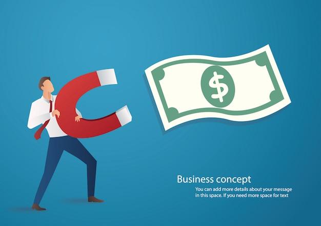 Geschäftsmann, der geldsymbol mit einem großen magneten anzieht
