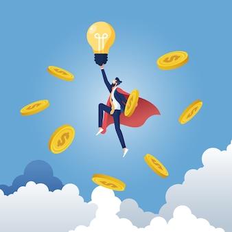 Geschäftsmann, der geschäftsideen-idee schafft geld verdient und gewinn erhält