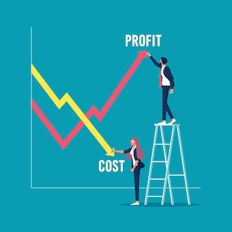 Geschäftsmann, der gewinn- und kostendiagramm zeichnet kostensenkungsgeschäftsvektorkonzept