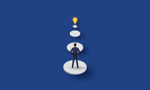 Geschäftsmann, der glühbirne, kreativität, geschäftskonzept betrachtet