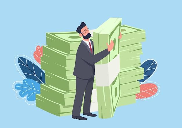 Geschäftsmann, der große flache konzeptillustration des geldpakets umarmt. reicher mann stehend und hält stapel geld 2d zeichentrickfigur für webdesign. kreative finanzidee aufbringen