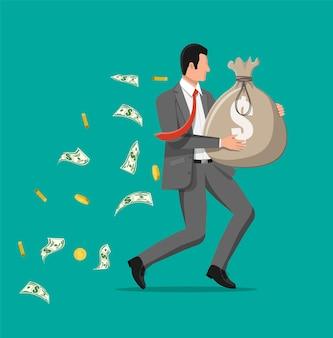Geschäftsmann, der große tasche voller geld hält. geschäftsmann mit großem schweren sack voller bargeld. wachstum, einkommen, ersparnisse, investitionen. symbol des reichtums. geschäftlicher erfolg. flache artvektorillustration.