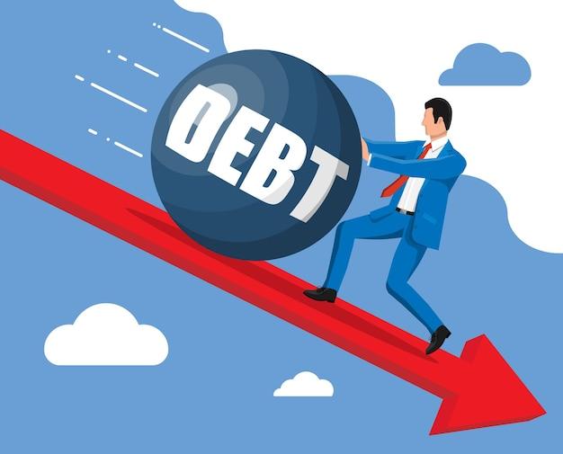 Geschäftsmann, der großes schuldengewicht wegschiebt.