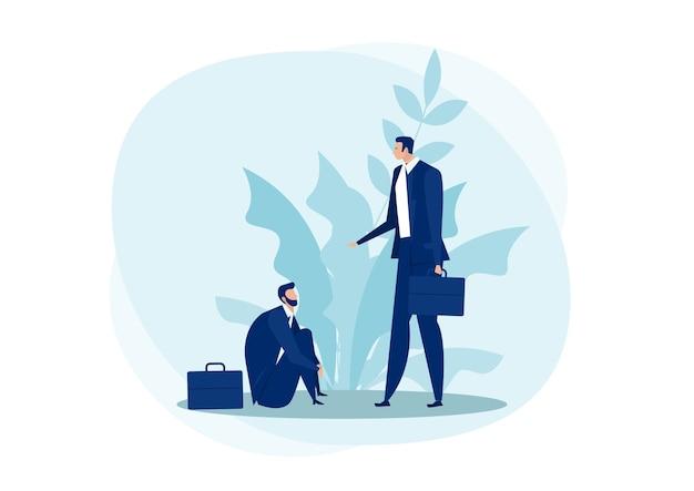 Geschäftsmann, der helfende hand von der flachen illustration des fallenden geschäfts-empathie-konzepts erhält. beratungs- und psychologisches unterstützungskonzept