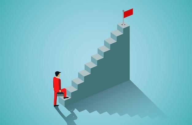 Geschäftsmann, der herauf treppenhaus geht, um rote fahne anzuvisieren