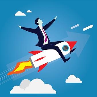 Geschäftsmann, der hoch fliegt, eine rakete fahrend