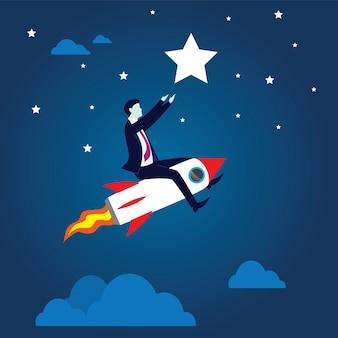 Geschäftsmann, der hoch fliegt, einen rocket reach star fahrend