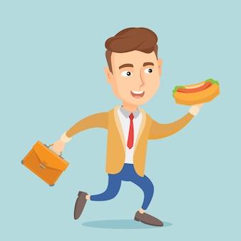Geschäftsmann, der hotdogvektorillustration isst.