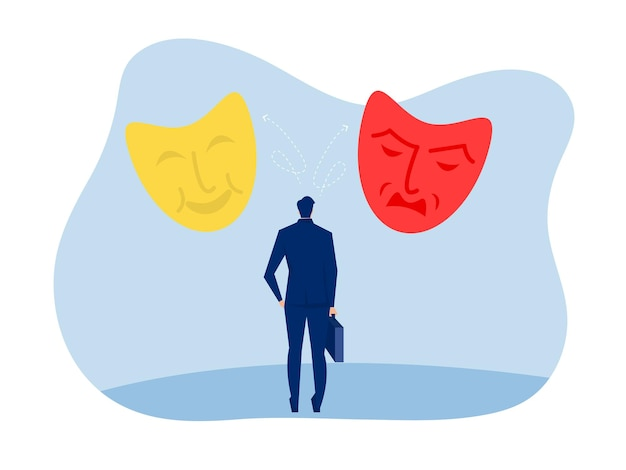 Geschäftsmann, der identitätsmasken mit glücklichen oder traurigen ausdrücken sucht, gespaltene persönlichkeit, stimmungsschwankungen, bipolare störung, vektorillustration.