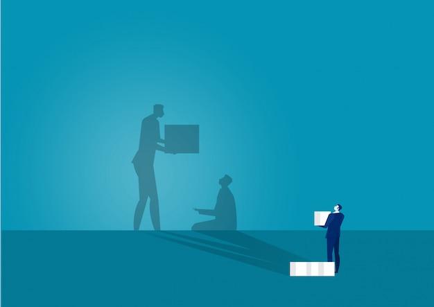 Geschäftsmann, der ihn großen schatten betrachtet, der schlechtes spendenkonzept hilft. illustration