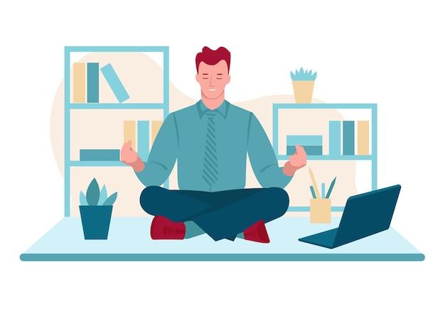 Geschäftsmann, der im büro meditiert arbeitsplatz vektorkonzept der entspannung der psychischen gesundheit