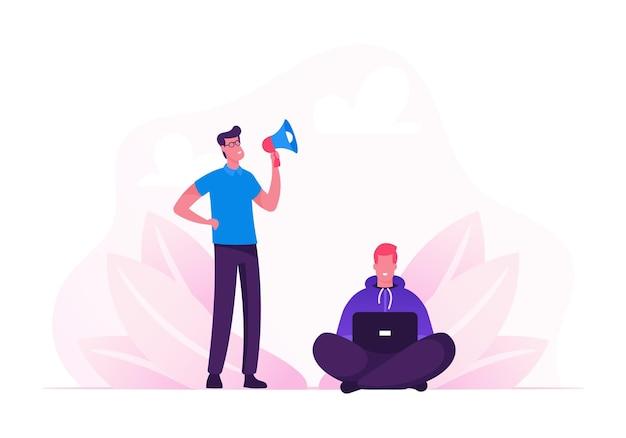 Geschäftsmann, der im lautsprecher auf mann-büroangestellter schreit, der am laptop arbeitet. karikatur flache illustration