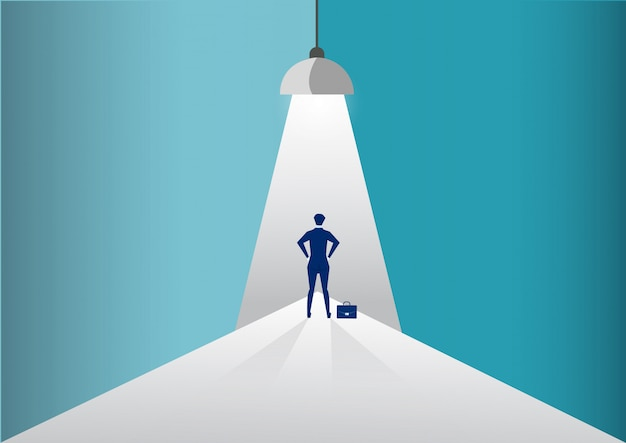 Geschäftsmann, der im scheinwerfer oder im scheinwerfer sucht nach neuen karrieremöglichkeiten steht. illustration.