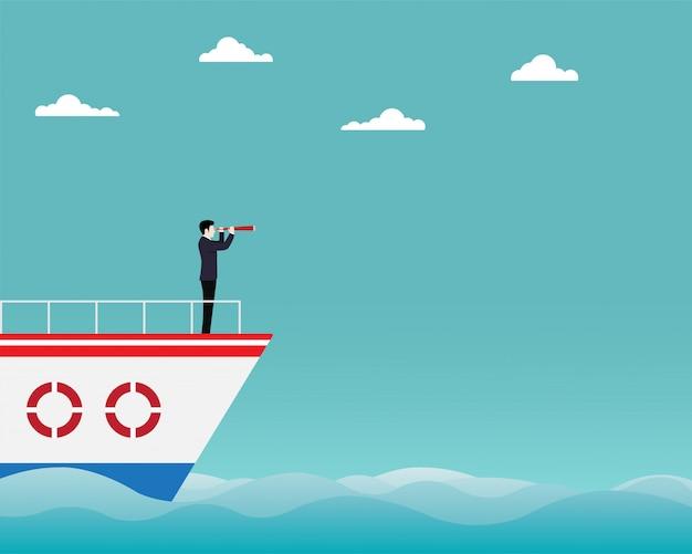Geschäftsmann, der in der hand auf boot mit teleskop steht