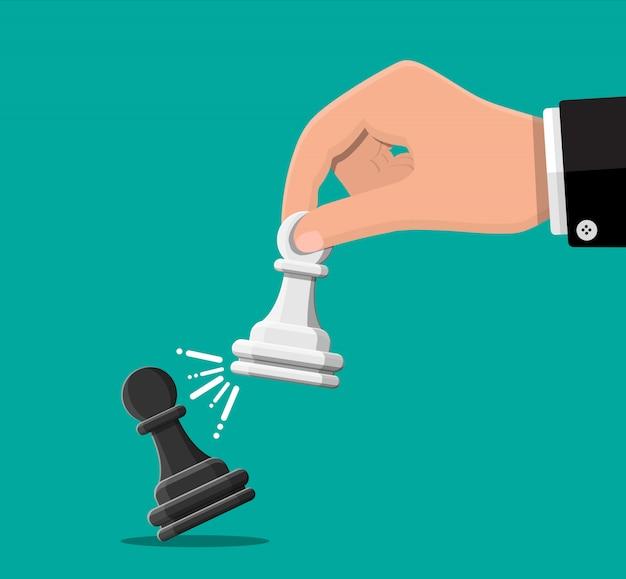 Geschäftsmann, der in der hand pwan schachfigur hält. ziele setzen. kluges ziel. geschäftszielkonzept. leistung und erfolg. illustration im flachen stil
