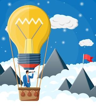 Geschäftsmann, der in großen ideenbirne fliegt, bildete ballon. geschäftsmann auf heißluftballon, der durch ein fernglas schaut. große idee, erfolg, leistung, karriereziel der geschäftsvision. flache vektorillustration
