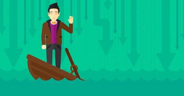 Geschäftsmann, der in sinkendem boot steht.