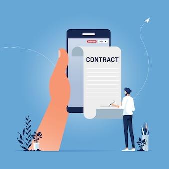 Geschäftsmann, der intelligenten oder elektronischen vertrag mit digitaler signatur auf smartphone unterzeichnet