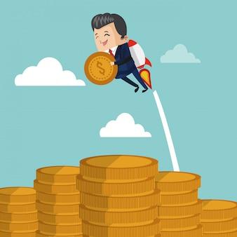 Geschäftsmann, der jetpack mit münze fliegt