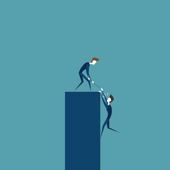 Geschäftsmann, der kollegen hilft, auf stangen-stütz- und teamwork-zusammenarbeits-konzept zu klettern