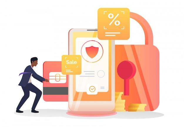 Geschäftsmann, der kreditkarte in mobiltelefon einfügt