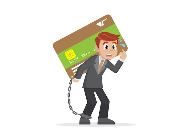 Geschäftsmann, der kreditkarte trägt.