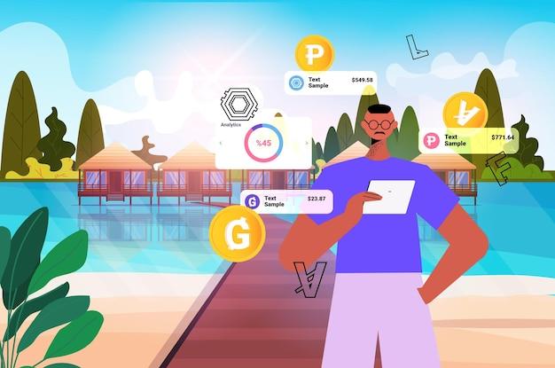 Geschäftsmann, der kryptowährungs-mining-anwendung auf tablet-pc verwendet virtuelle geldtransfer-app banking-transaktion digitales währungskonzept horizontale porträtvektorillustration
