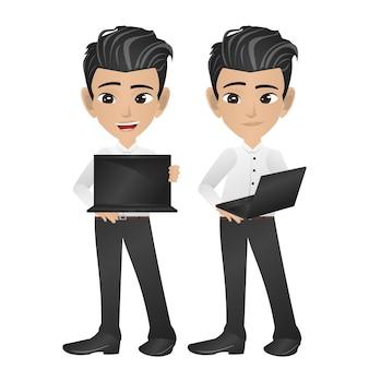 Geschäftsmann, der laptop hält
