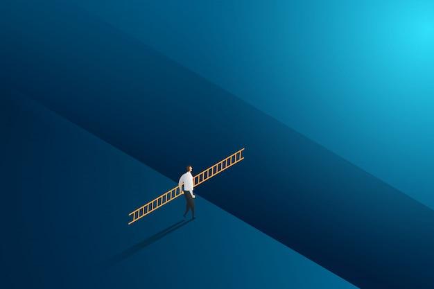 Geschäftsmann, der leiterkreuz zum zielerfolg mit herausforderung geht. illustration