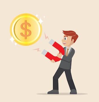 Geschäftsmann, der magneten hält, um große dollarmünze anzuziehen.