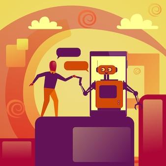 Geschäftsmann, der mit chatbot-roboter auf intelligentem telefon-technologie-stützkonzept plaudert