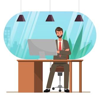 Geschäftsmann, der mit computer administration am schreibtisch arbeitet.
